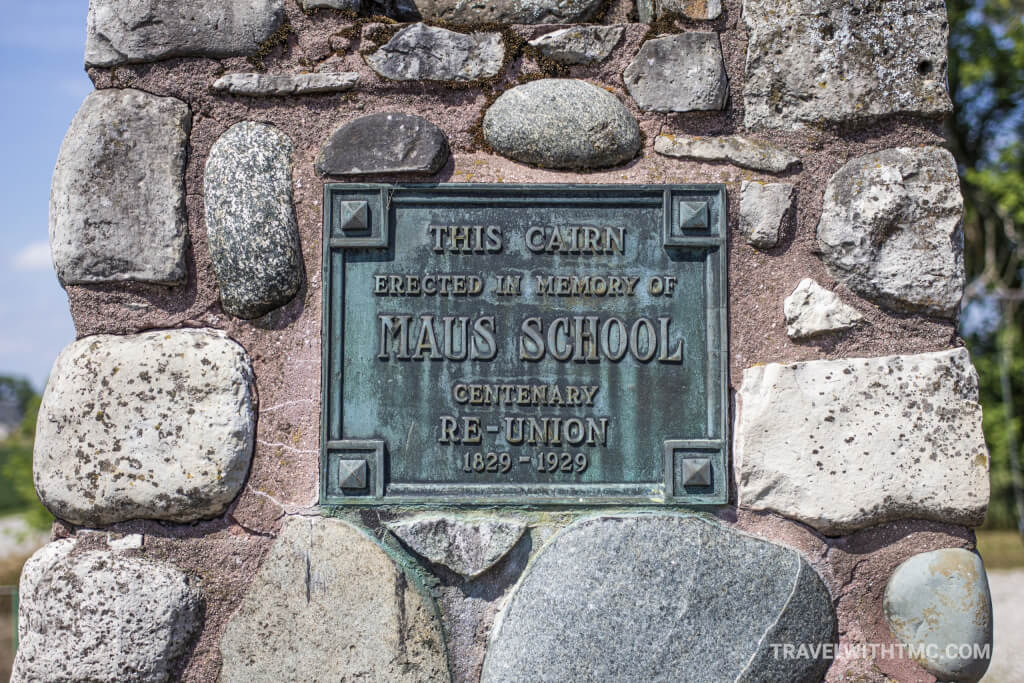 Maus School Cairn at Paris Plains Church in Ontario