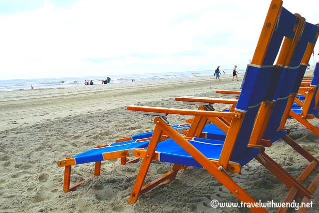 Beach chairs on the shore ~