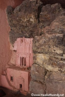 Miniature replica's of Petra in the store