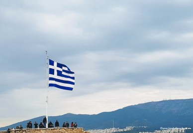 Greece flag and views