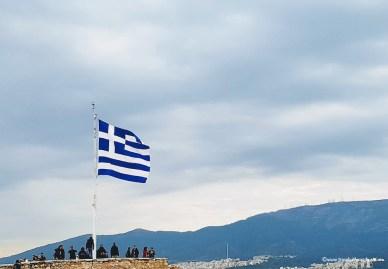 Greece flag and views