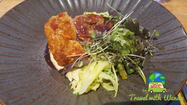 Pork with salad and asparagus
