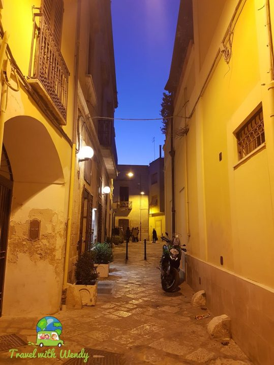 Lit streets of Brindisi