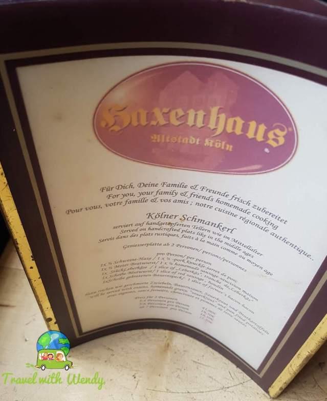 Haxenhaus menu - Cologne