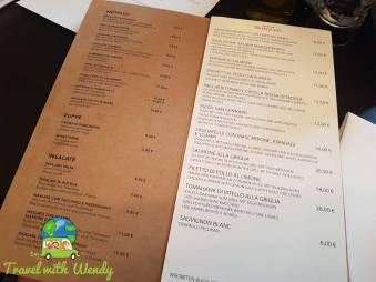 Menu at Italiani