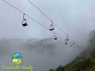 Ski lift through the fog