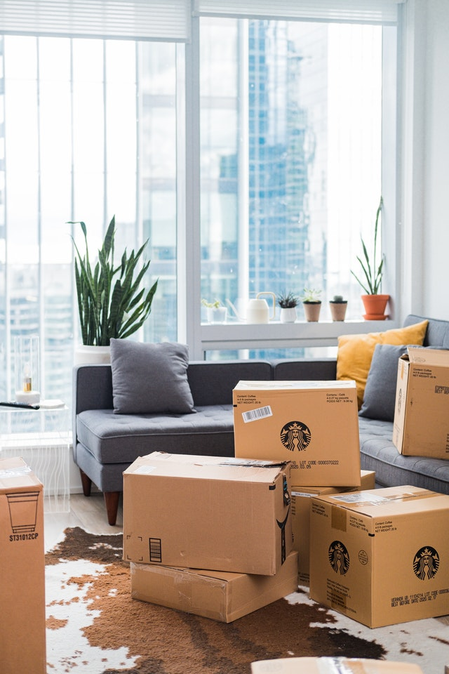 packing boxes in an apartment