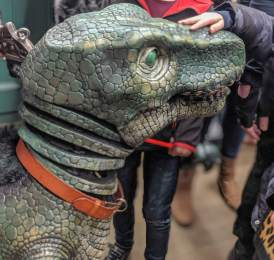 meeting the baby T-Rex puppet after Dinosaur World Live