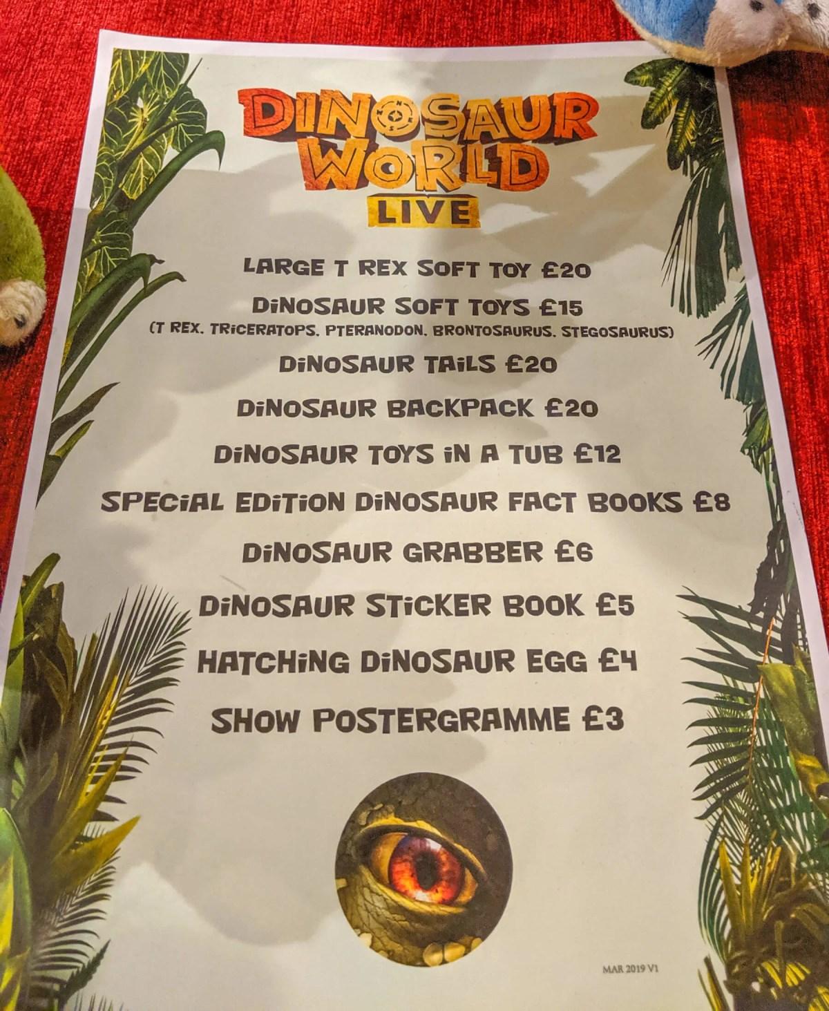 price list of merchandise at Dinosaur World Live
