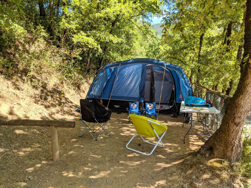 blue tent pitched