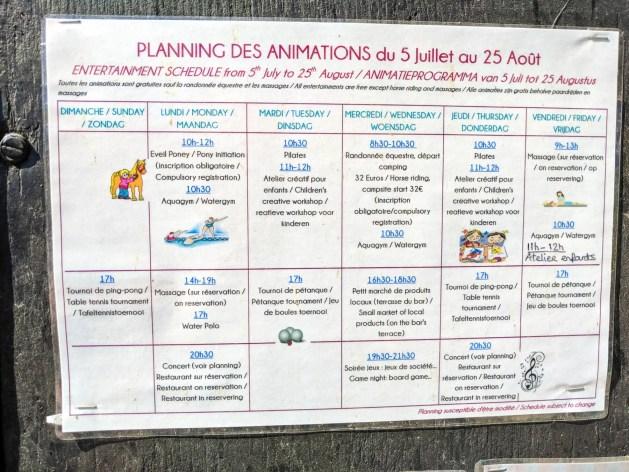 actvity list at Camping le Haras