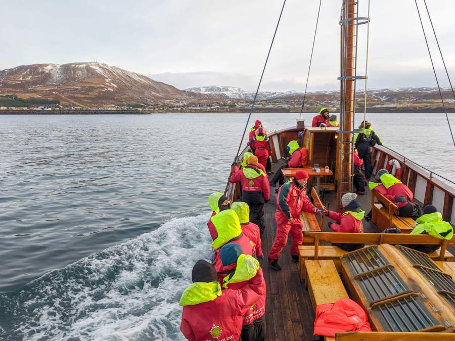 whale watching boat coming in to Husavik