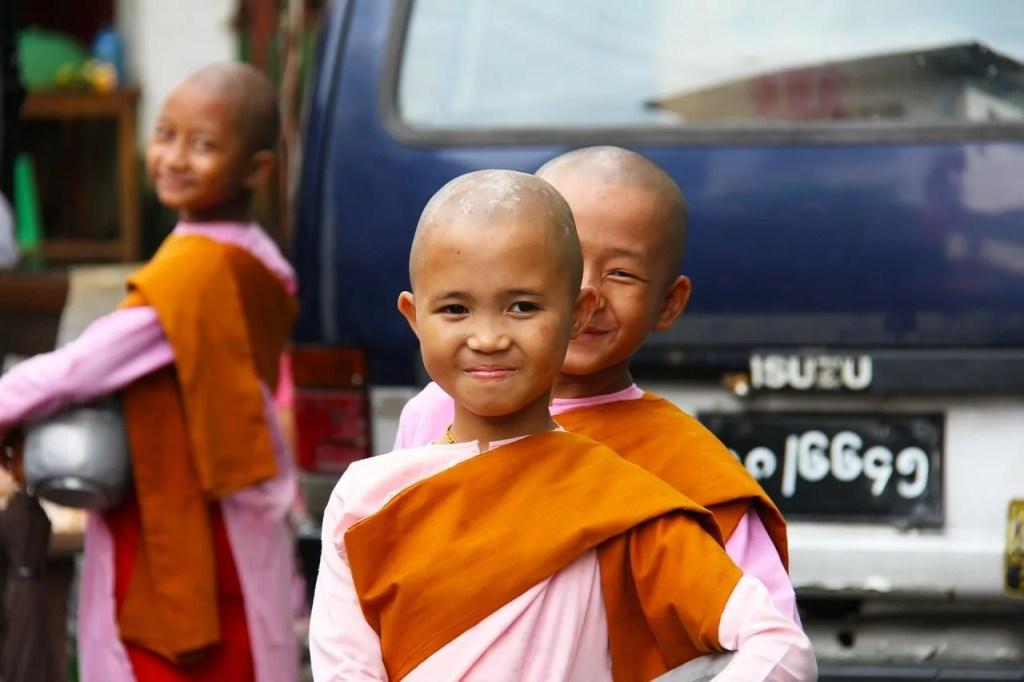 Buddist girls in Yangon