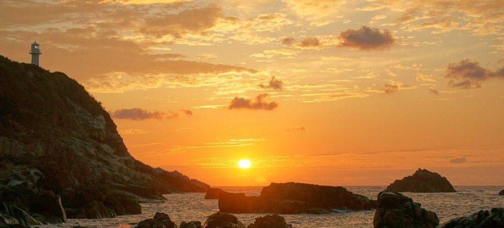 夕景の足摺岬