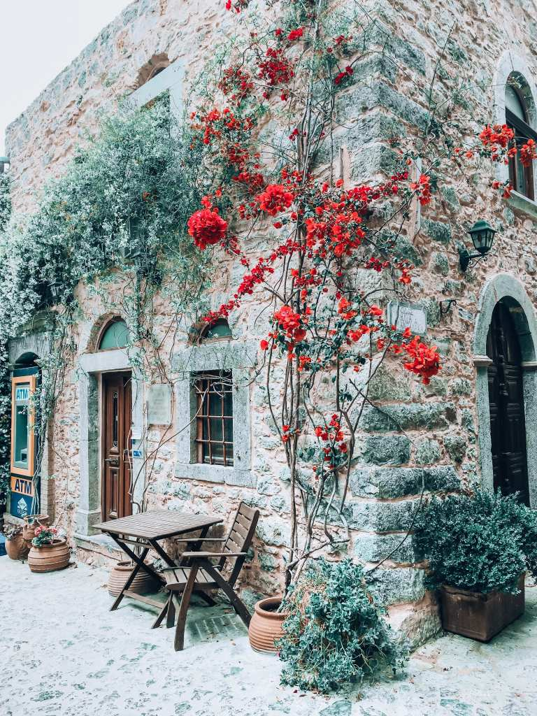 House with flowers and greenery on my Chios Island visit with Alios Tours