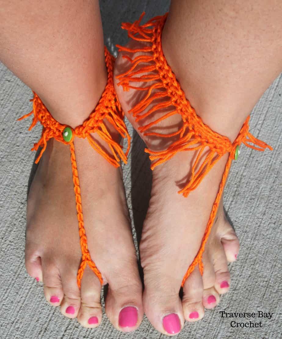 Crochet Barefoot Sandal Pattern Crochet Fringe Sandal Pattern Free