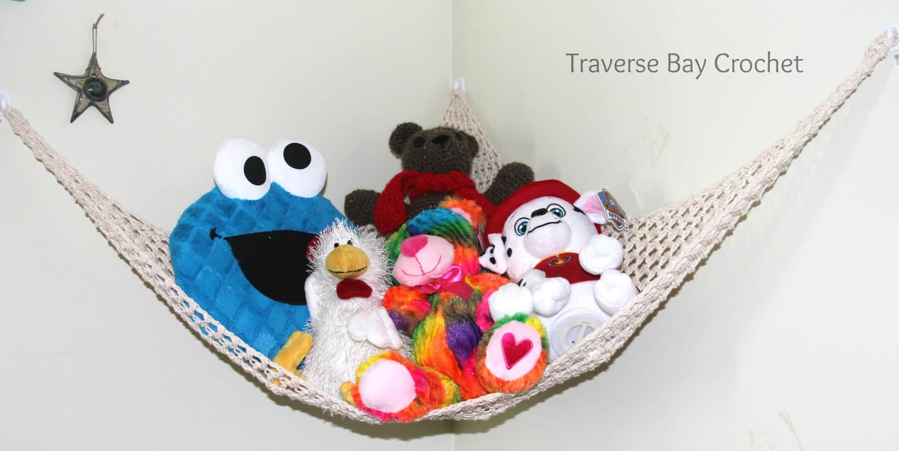 Crochet toy storage net hammock & crochet toy storage hammock |