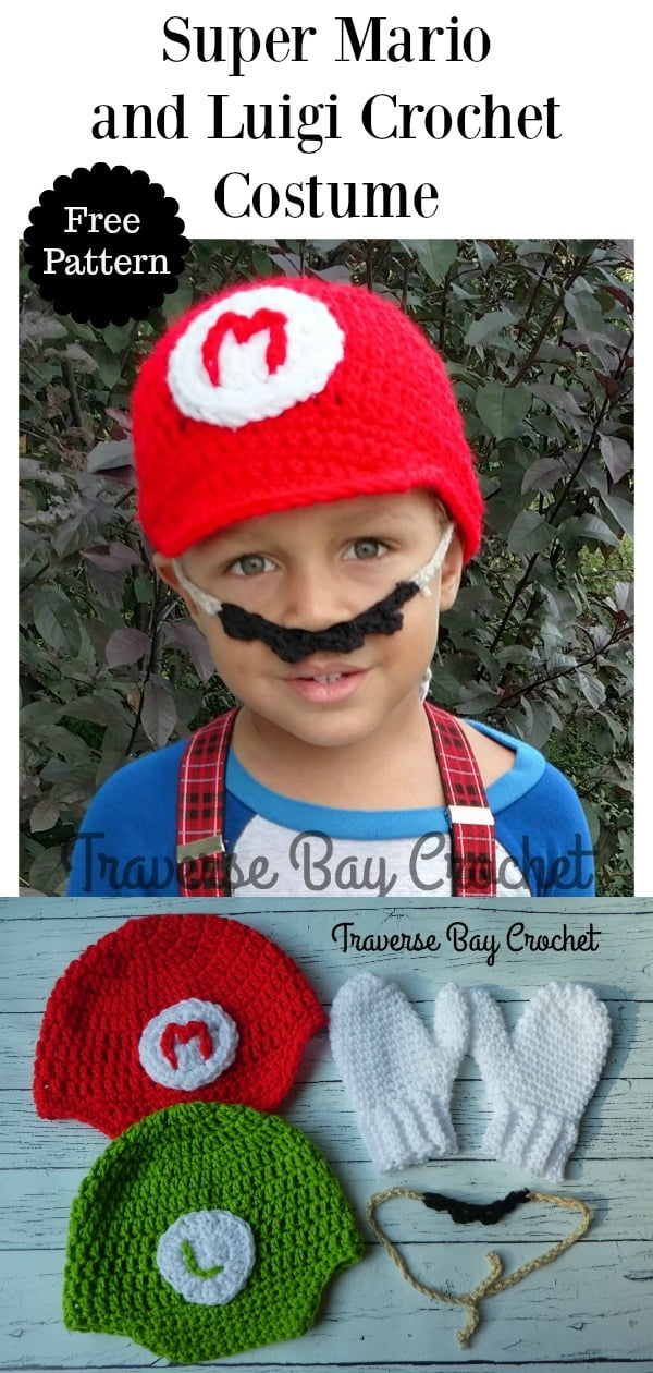 Mario And Luigi Hat Mustache Mitten Crochet Costume