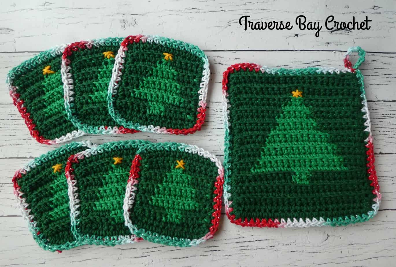 Crochet Christmas Tree Hotbed Coaster Set