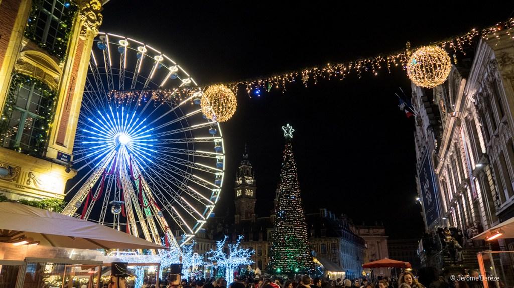 Place Charles de Gaulle à Lille durant noël