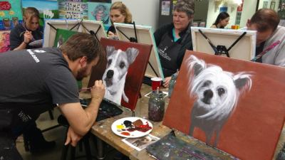 Travis Pflanz, painting party with KC Dog Club