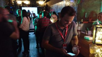 Tweeting hard at the 2016 Techweek Kansas City wrap party at Uber