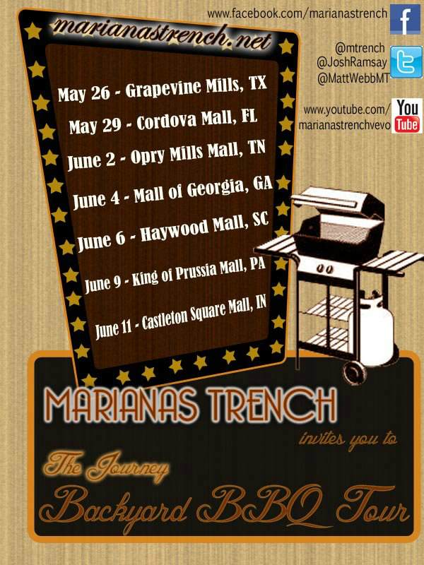 Marianas Trench Announce Mall Appearances