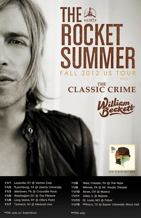 The Rocket Summer Announce Tour With The Classic Crime, William Beckett