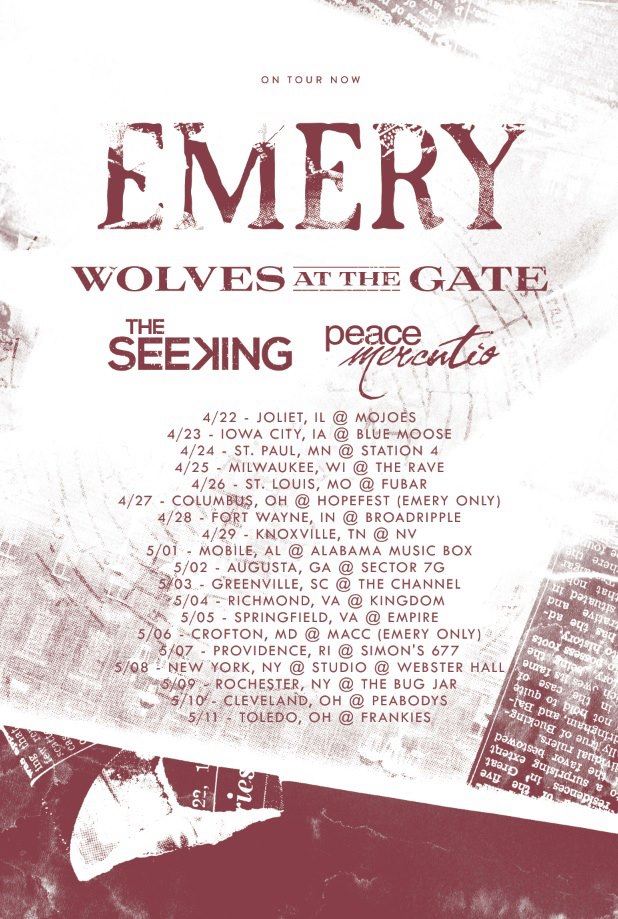 Emery Announce Tour With Wolves At The Gate And The Seeking