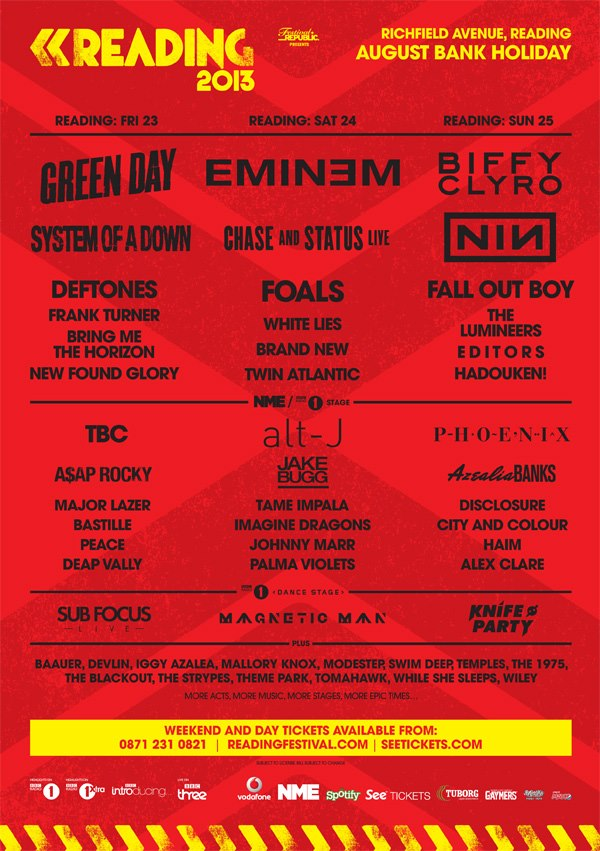 Green Day, Biffy Clyro, Eminem To Headline Reading Festival 2013
