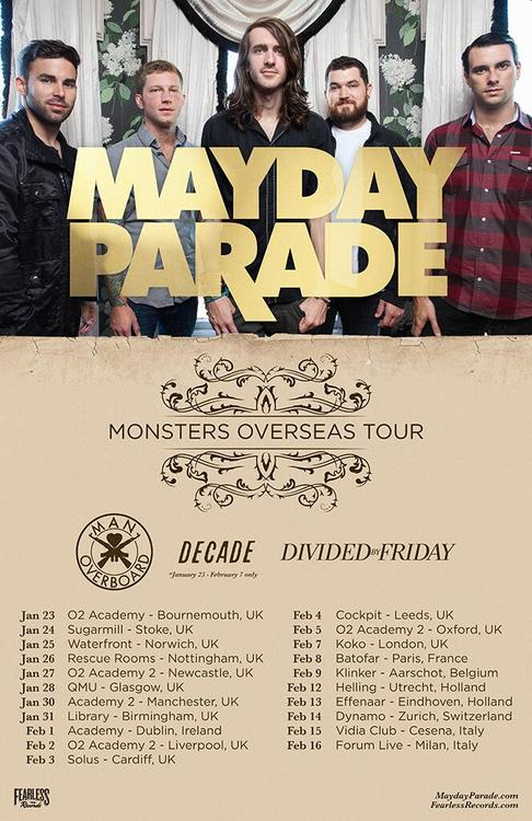Mayday Parade, Man Overboard Announce UK/Europe Tour