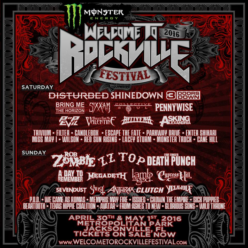 Disturbed Rob Zombie Five Finger Death Punch Shinedown