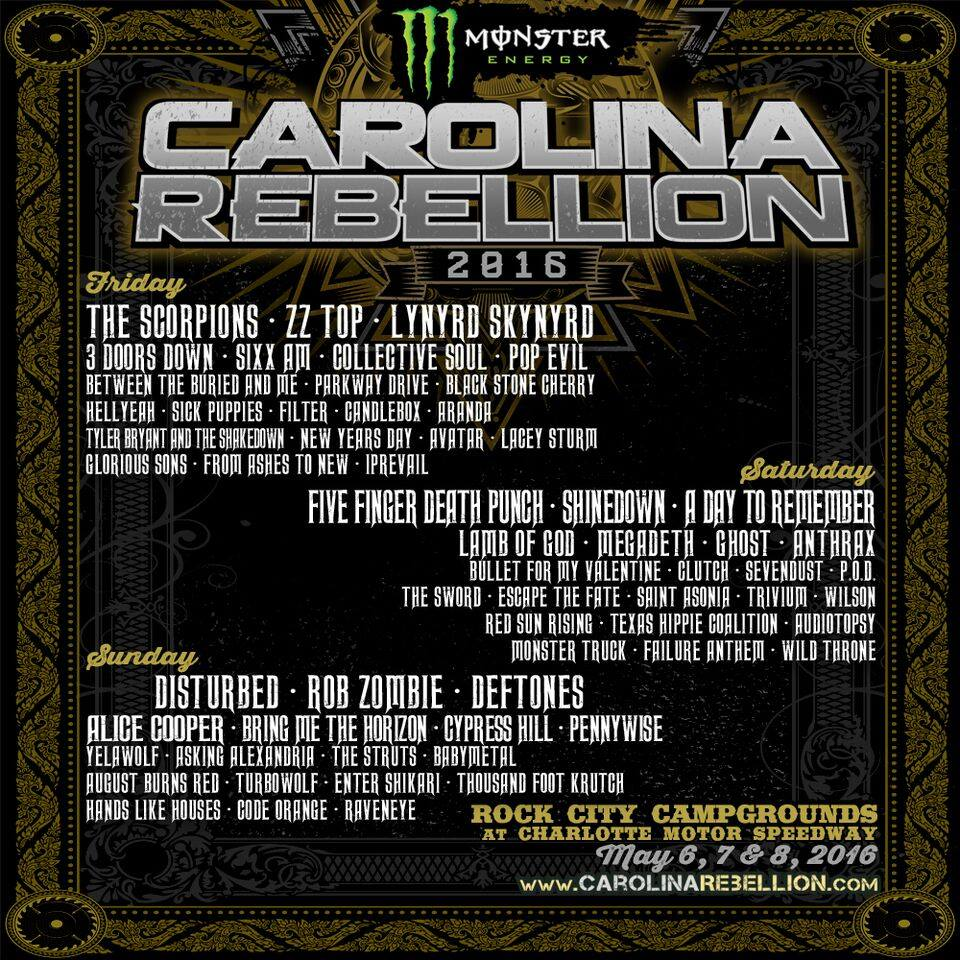 The Monster Energy 2016 Carolina Rebellion Lineup Announced