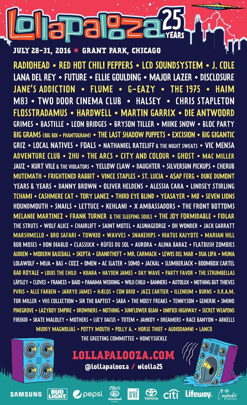 2016 Lollapalooza Lineup