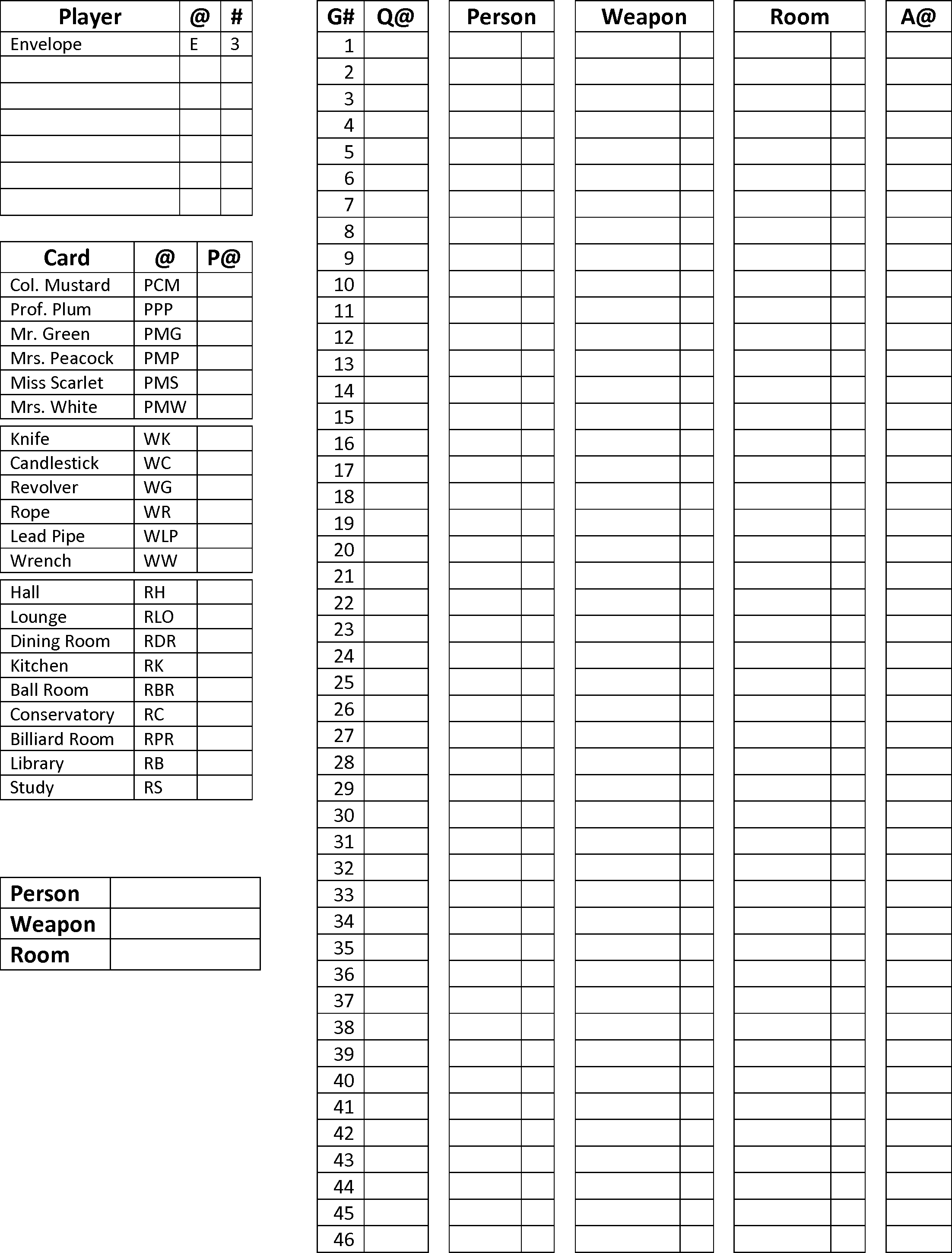 Best Printable Clue Game Sheets