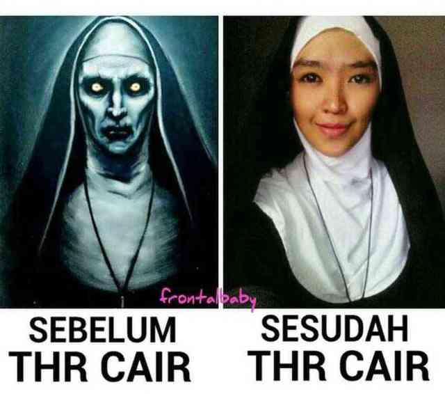 12 penampilan valak sebelum dan sesudah gajian beda banget 750x663 - Gagal Seram! Kumpulan Meme The Nun yang Lucu & Kocak Habis