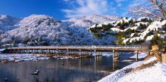 cropped 渡月橋,雪。