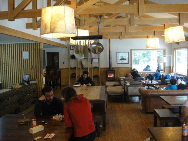 Inside refugio Grey Torres Del Paine Chile