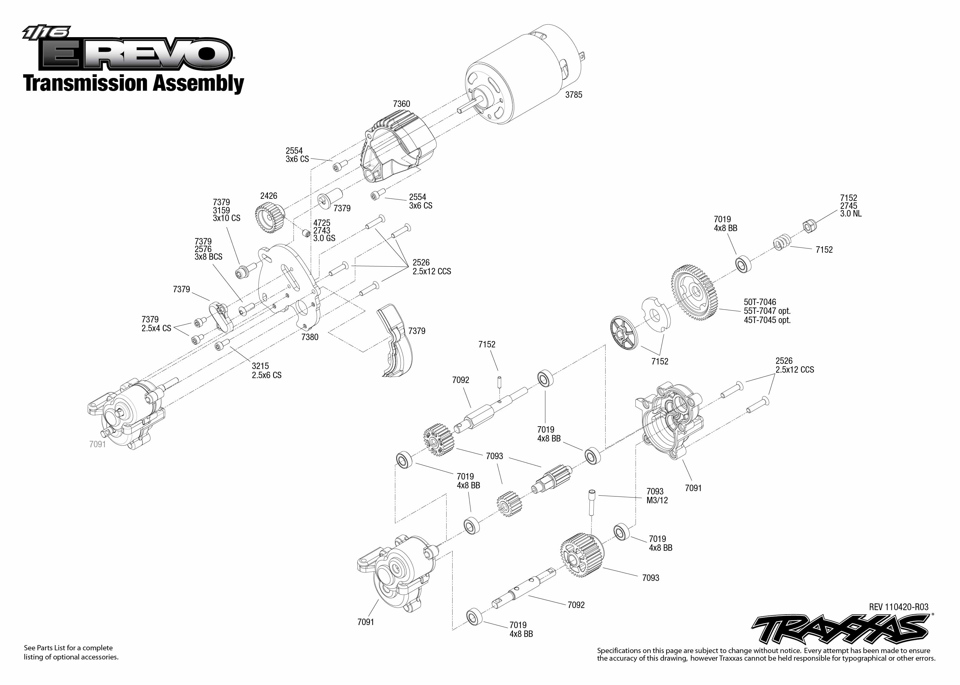 Transmission Exploded View 1 16 E Revo Brushed W