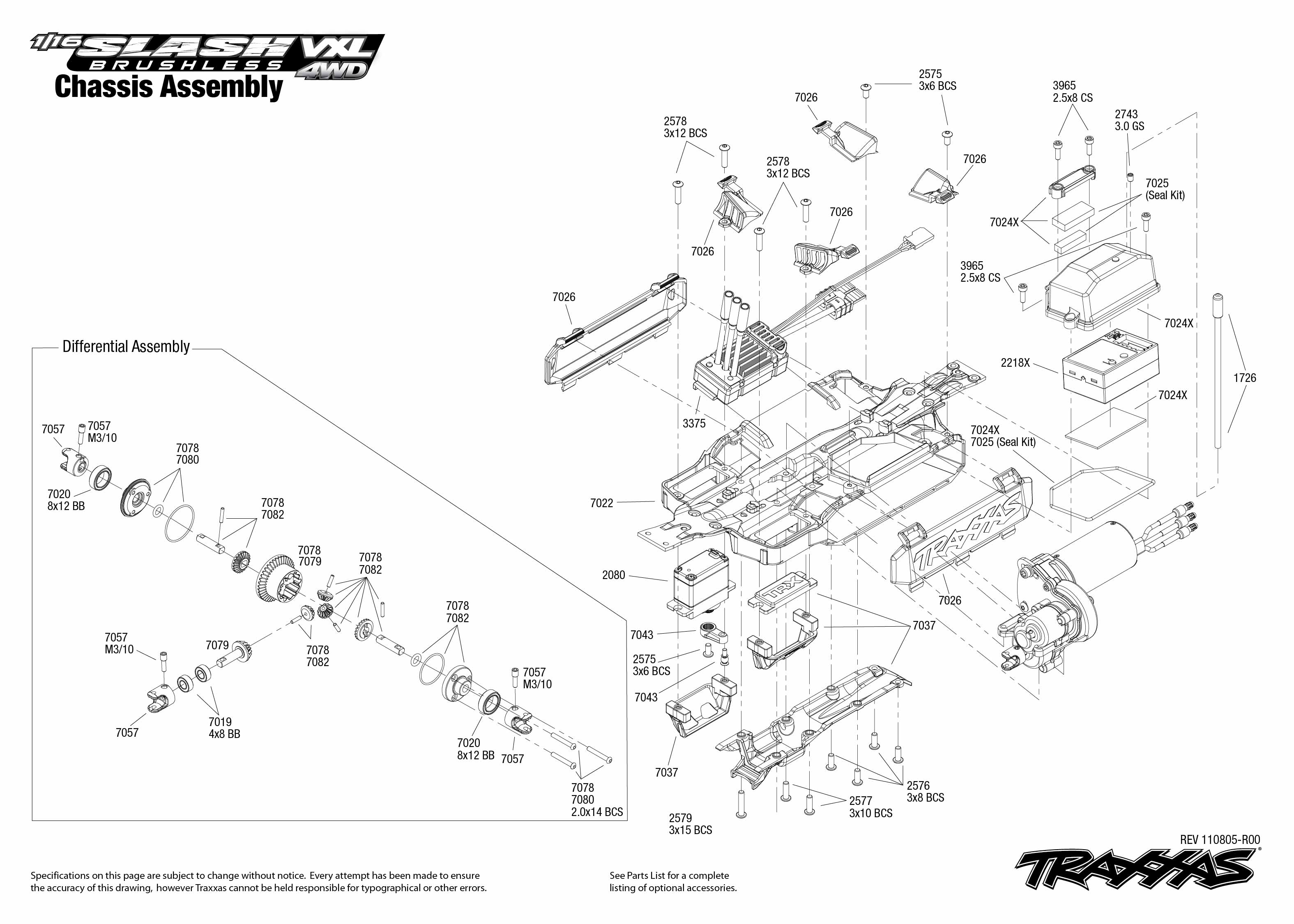 Chassis Exploded View 1 16 Slash 4x4 Vxl