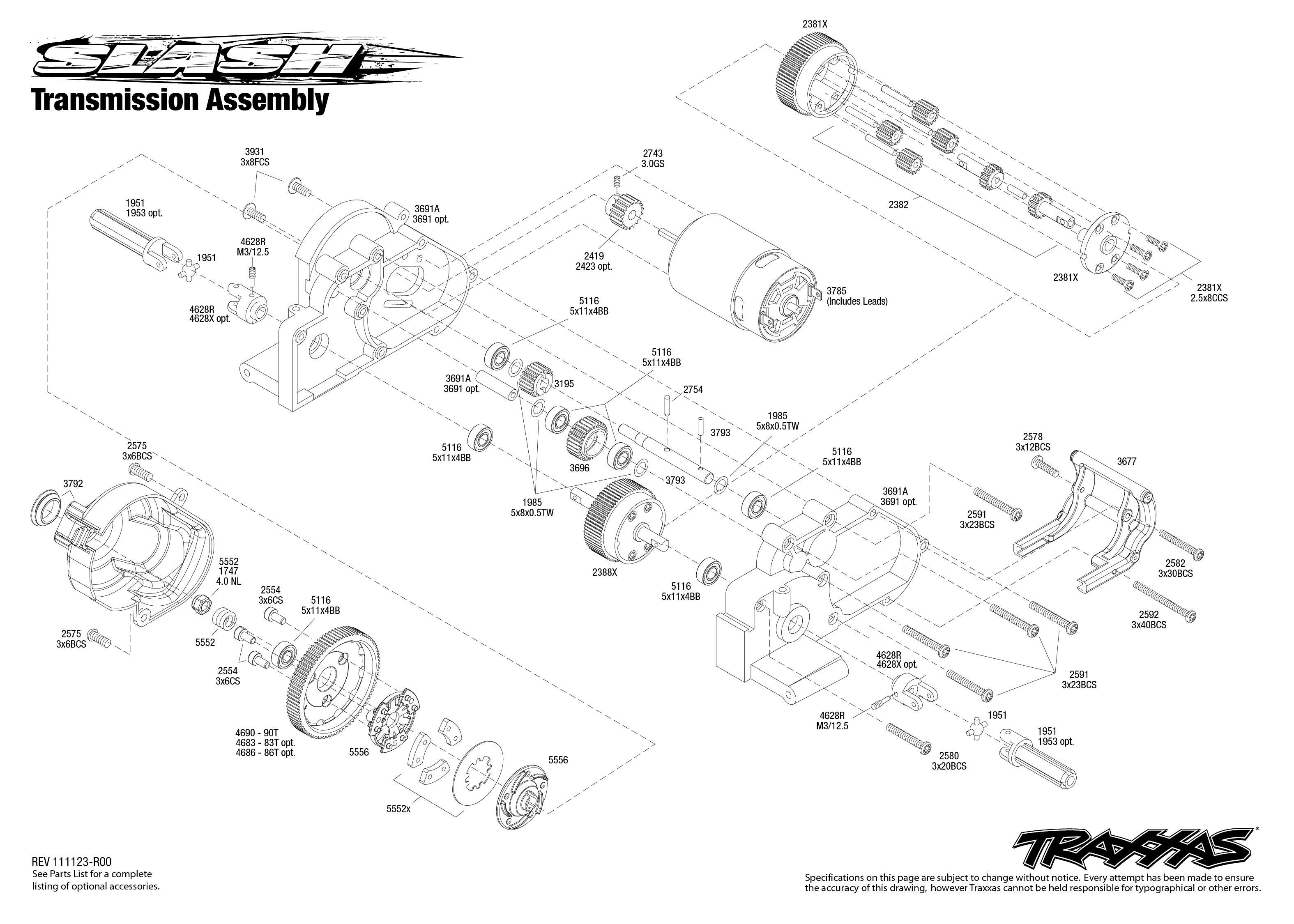 Traxxas Slash Transmission Assembly