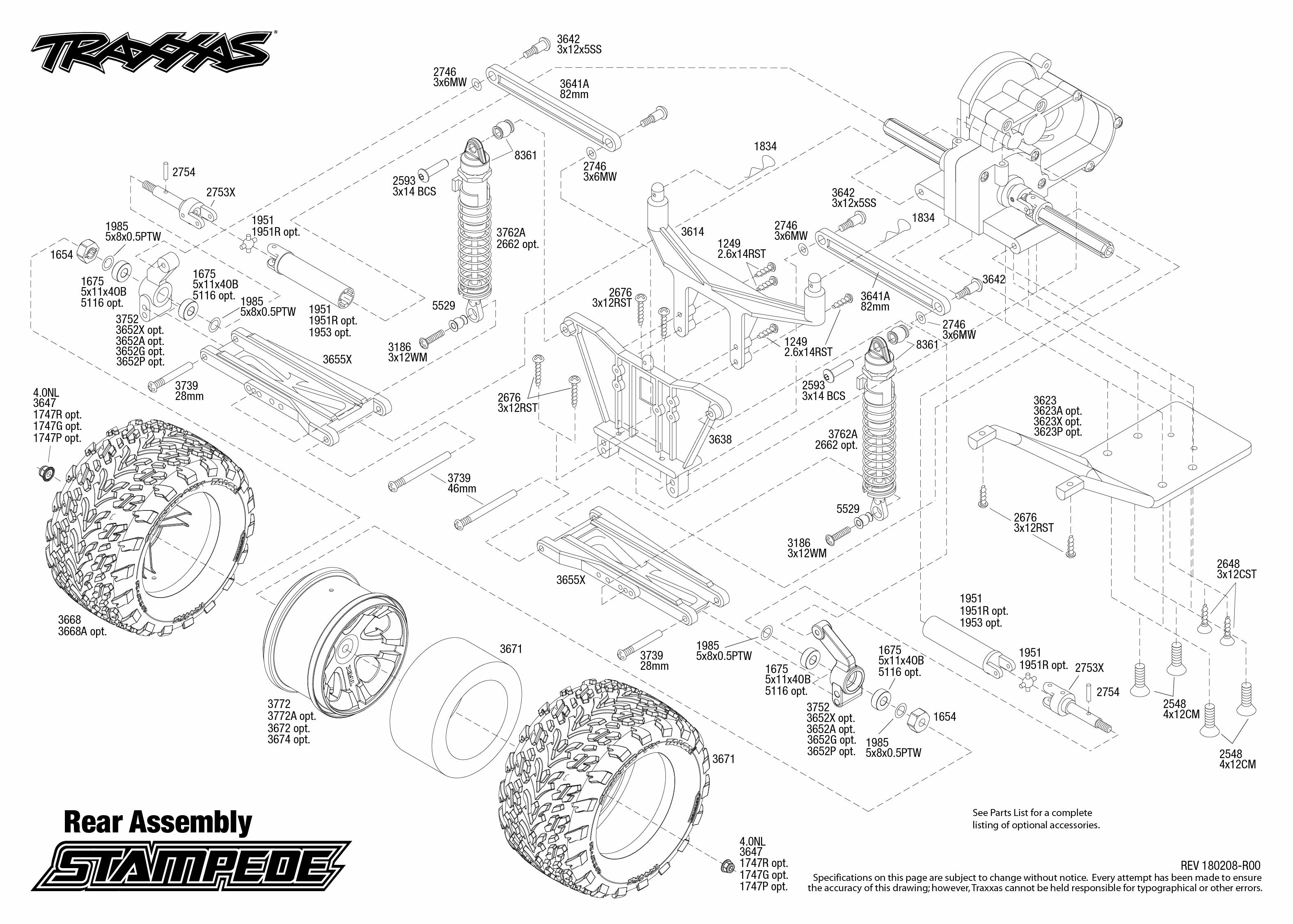 Stampede 4 Rear Assembly Exploded View