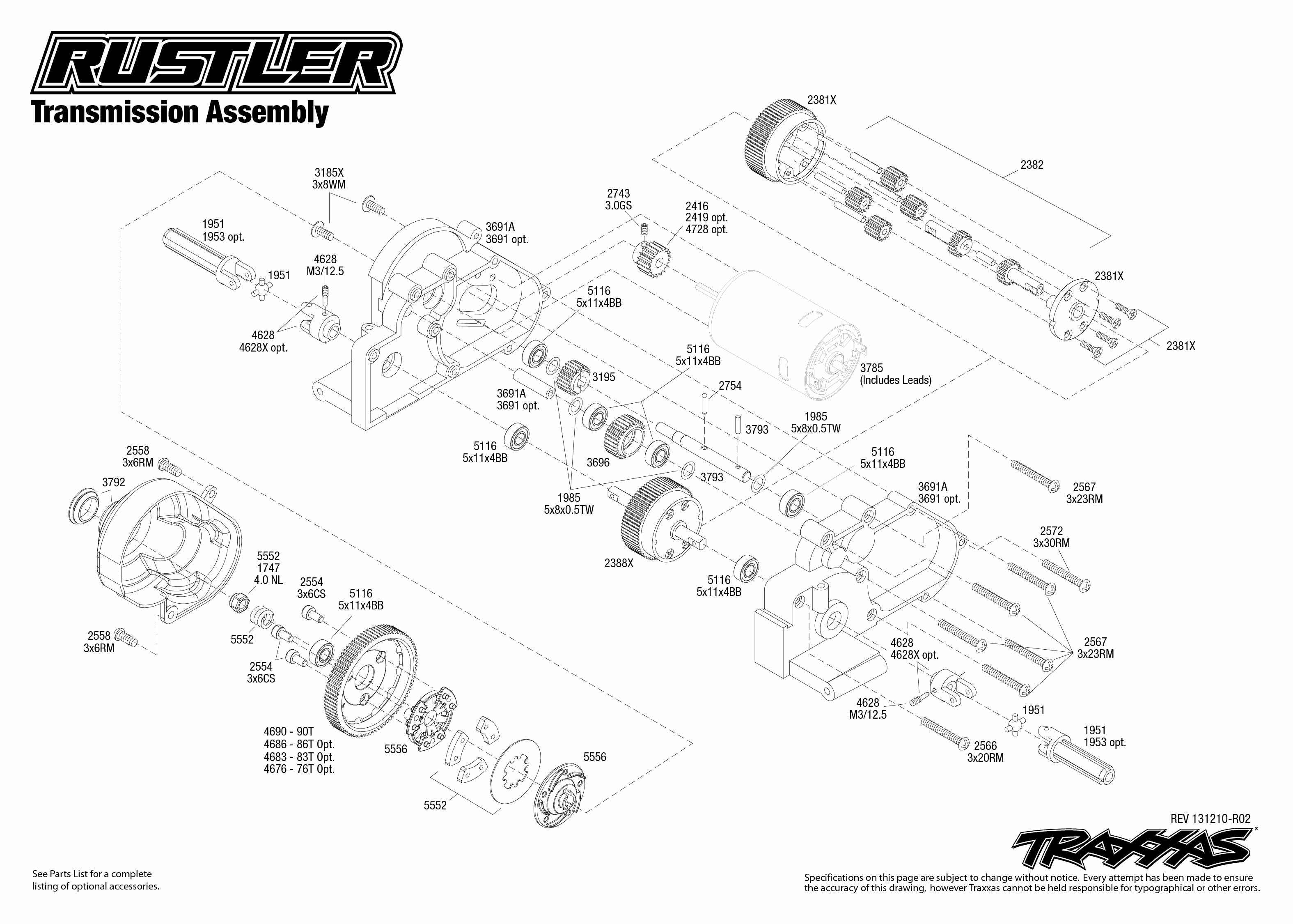 Rustler Transmission Assembly