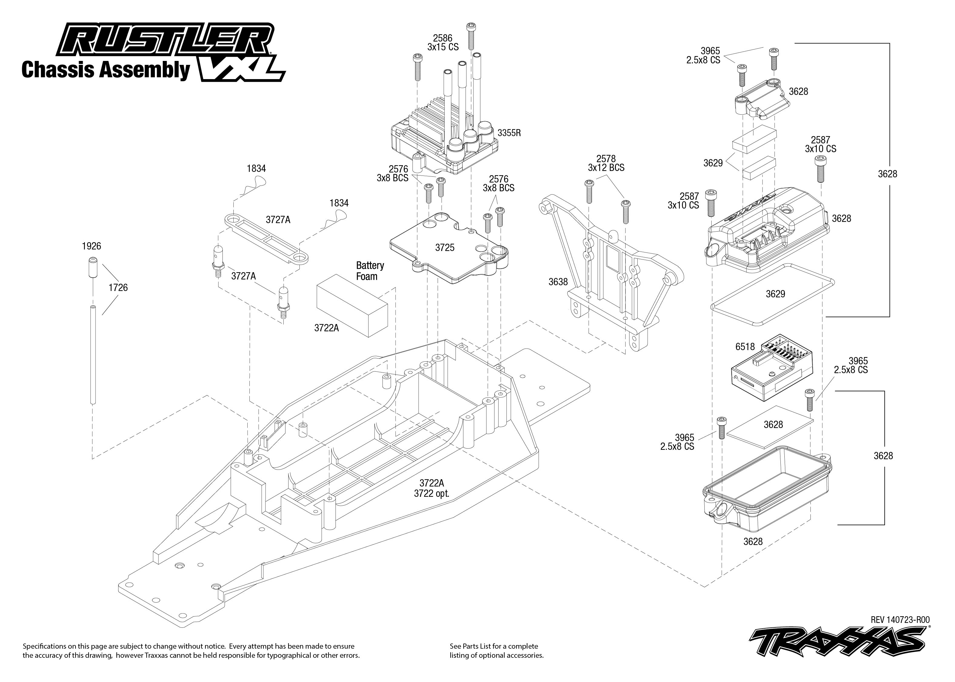 Rustler Vxl 1 Chassis Assembly Exploded View