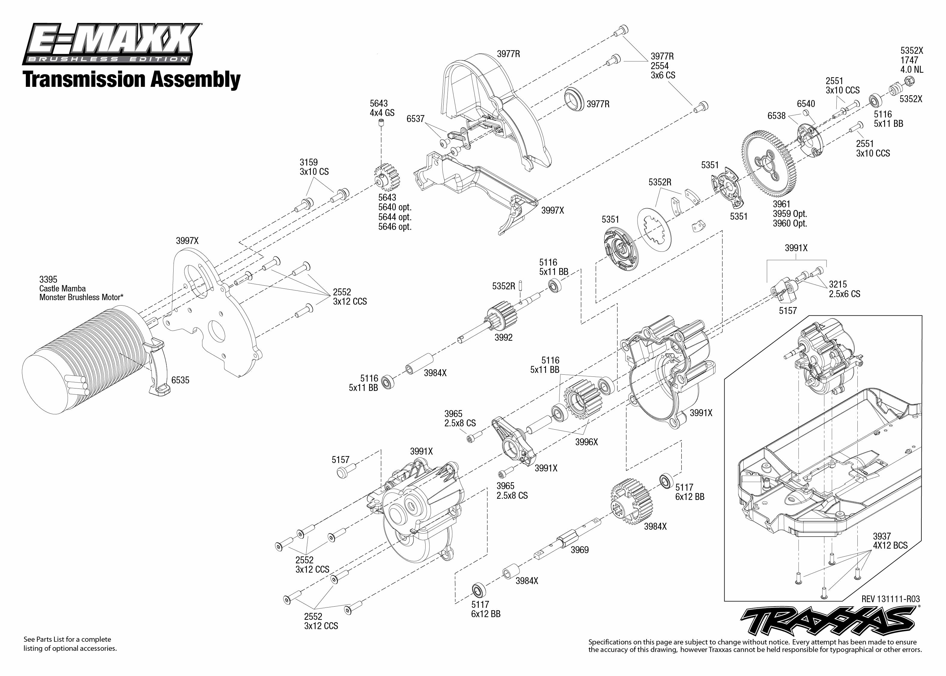 Transmission Exploded Views E Maxx Brushless W Tqi