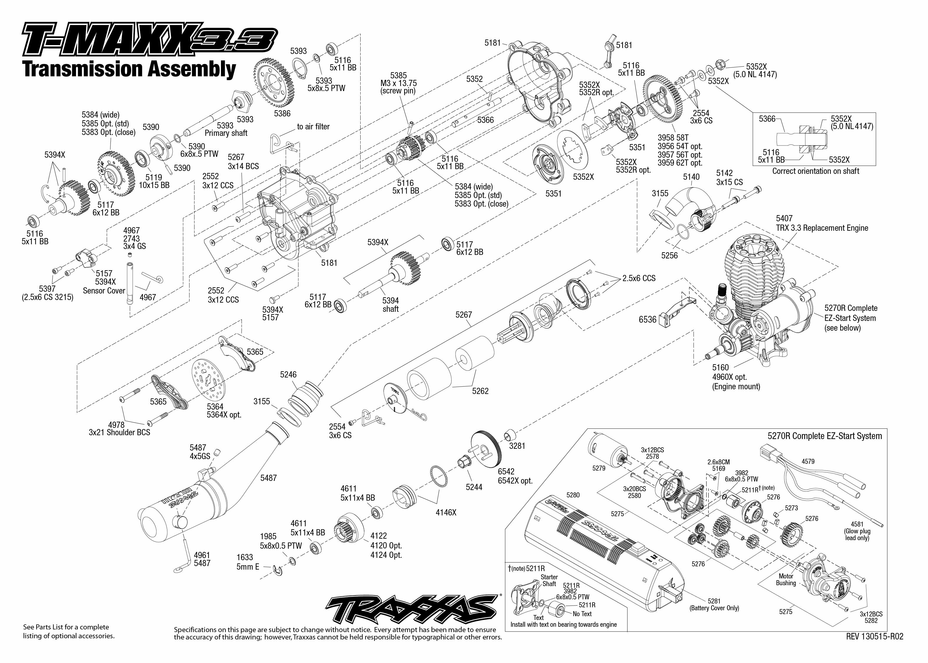 T Maxx 3 3 Transmission Assembly