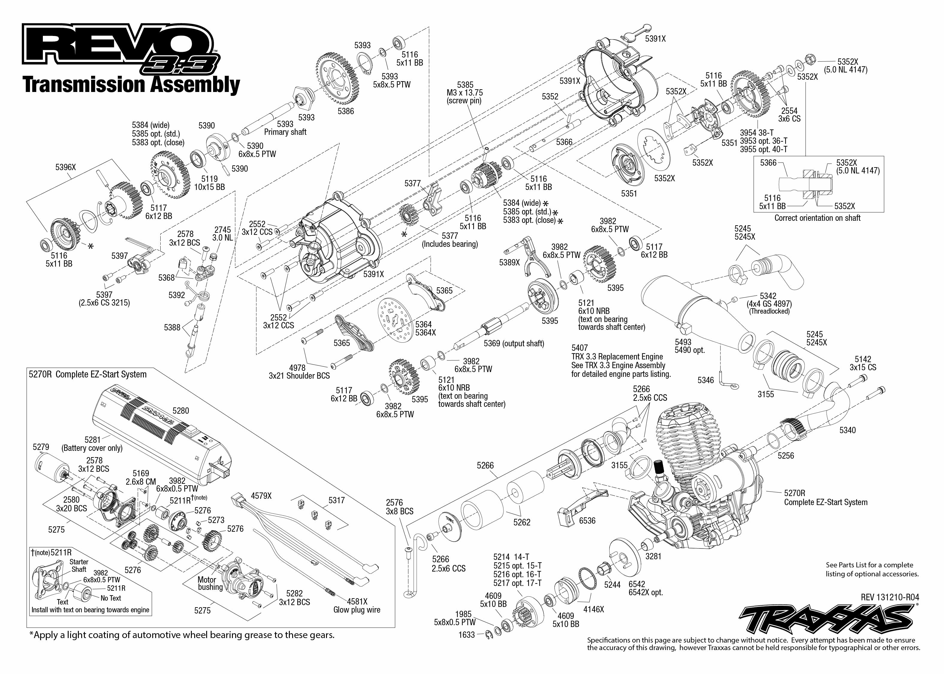 Transmission Exploded View Revo 3 3 W Tqi 2 4ghz
