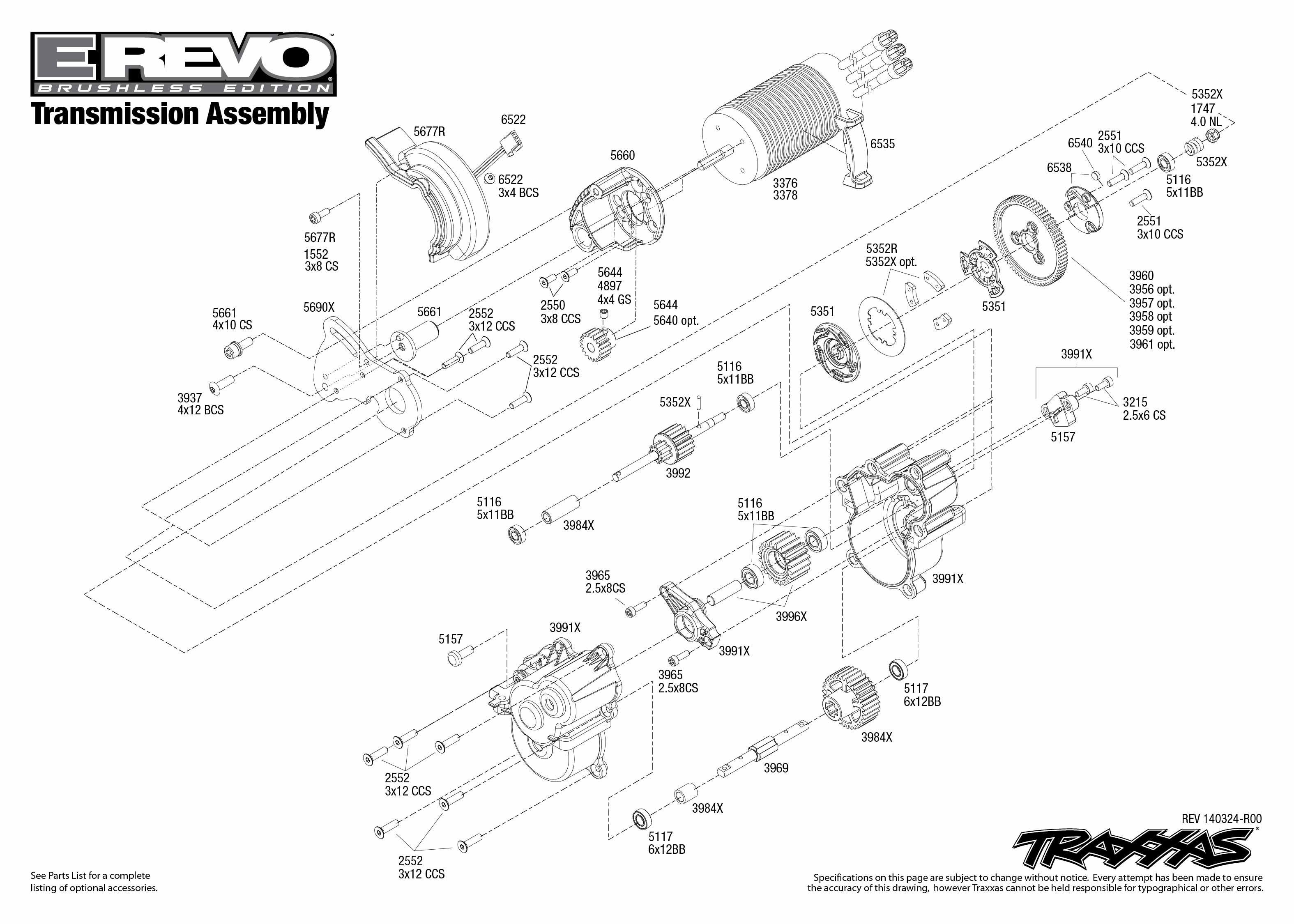 E Revo Brushless Transmission Assembly