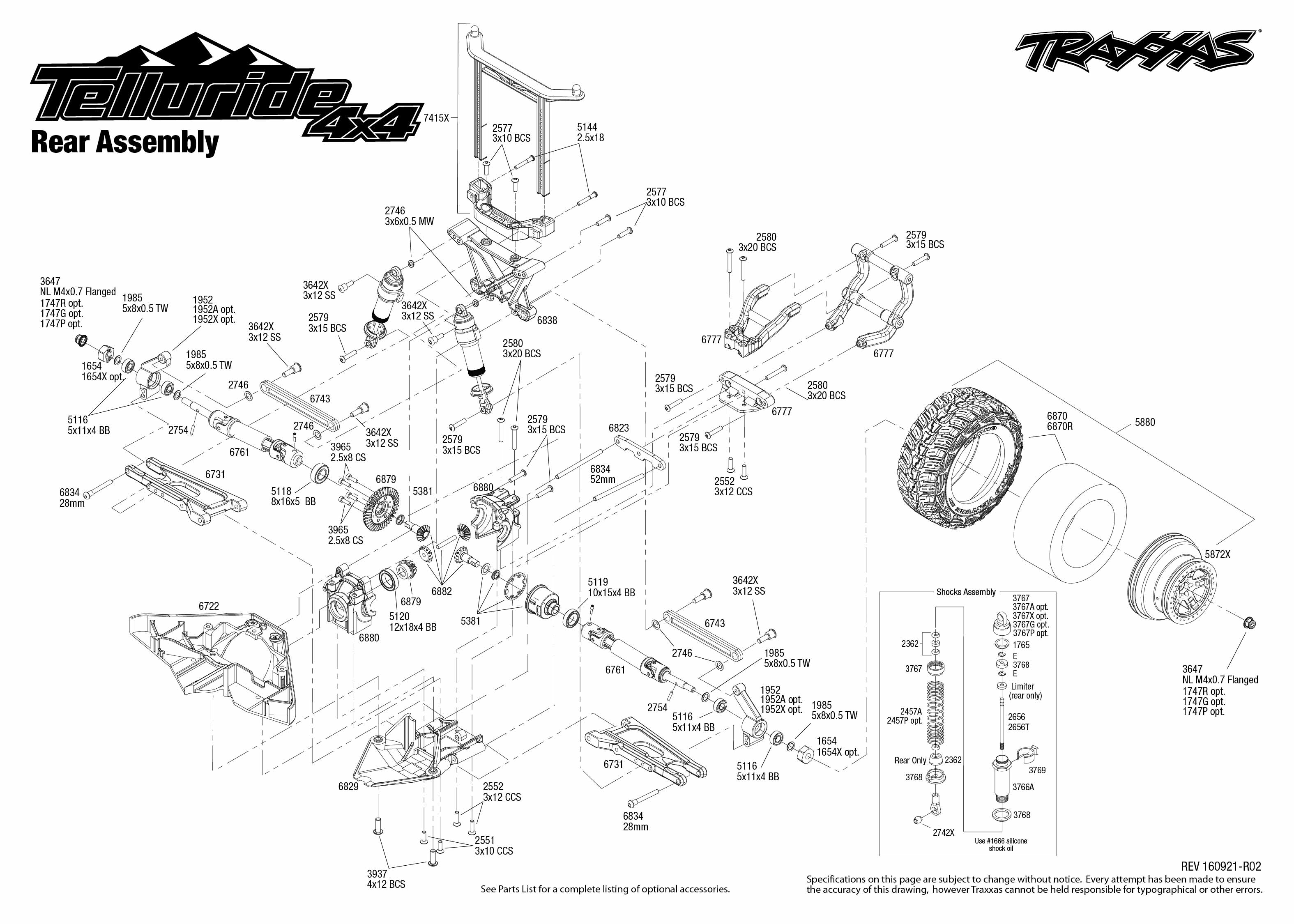 Telluride 4x4 1 Rear Assembly Exploded View