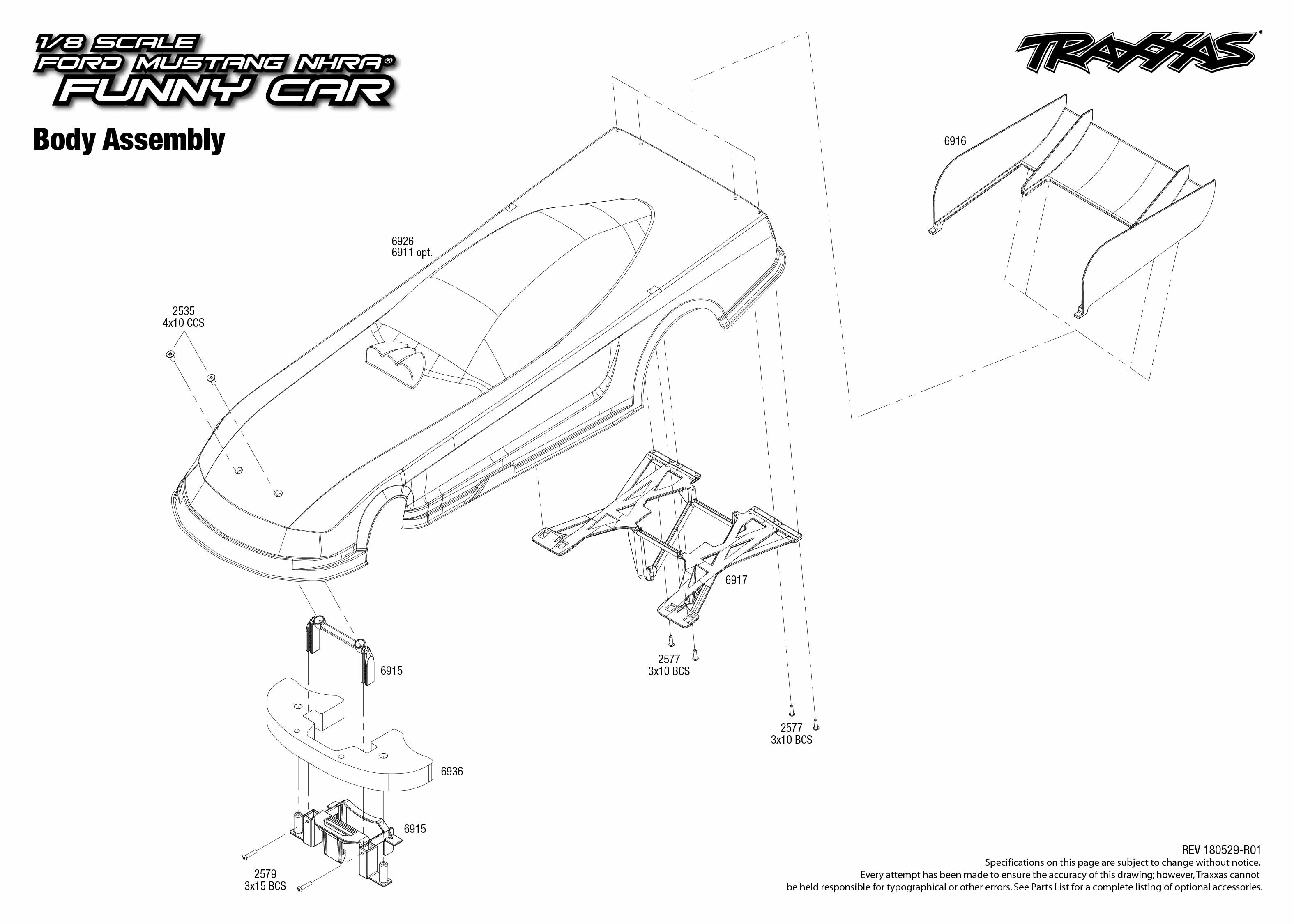 Funny Car 4 Body Assembly Exploded View